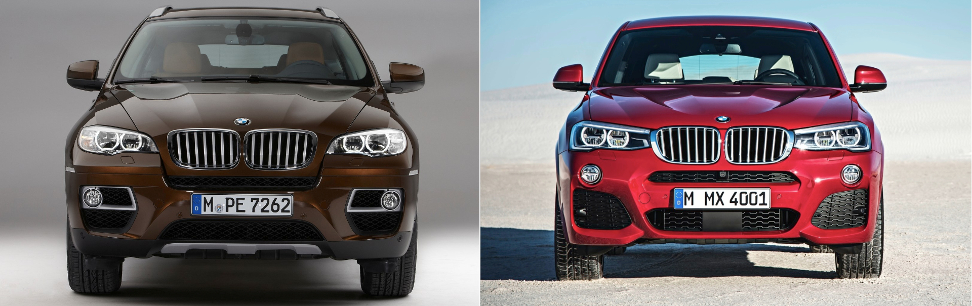 BMW X6 BMW X4 comparativa frontal