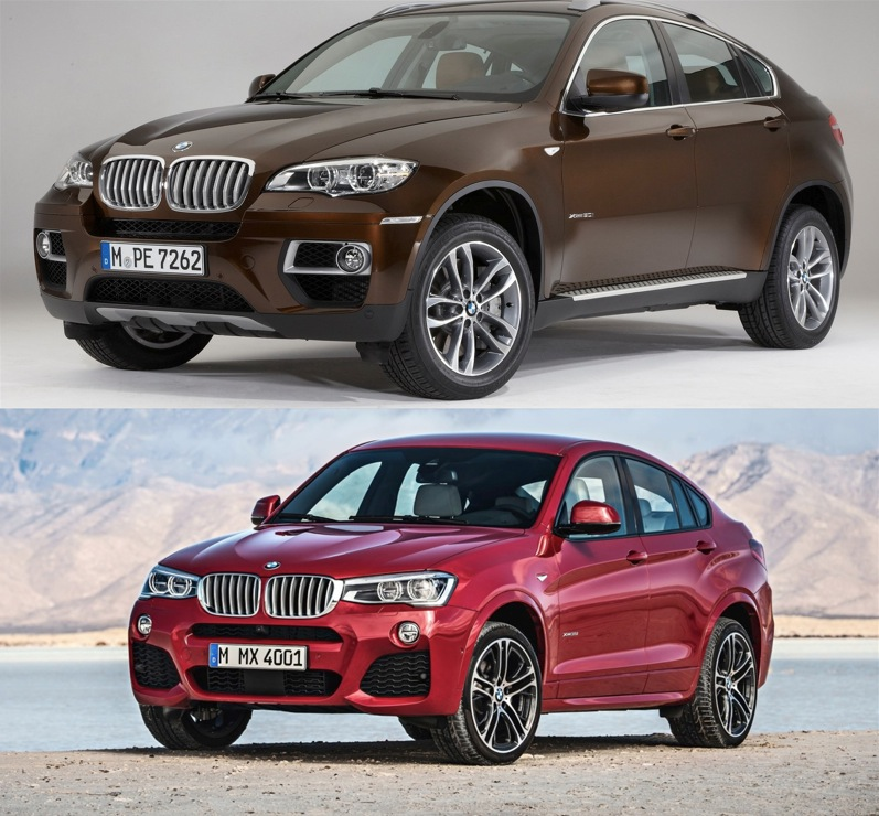 BMW X6 BMW X4 comparativa lateral frontal