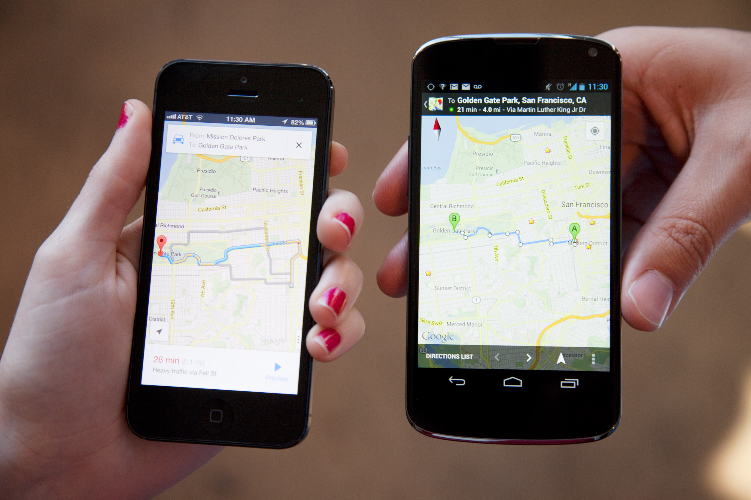 google maps android y apple