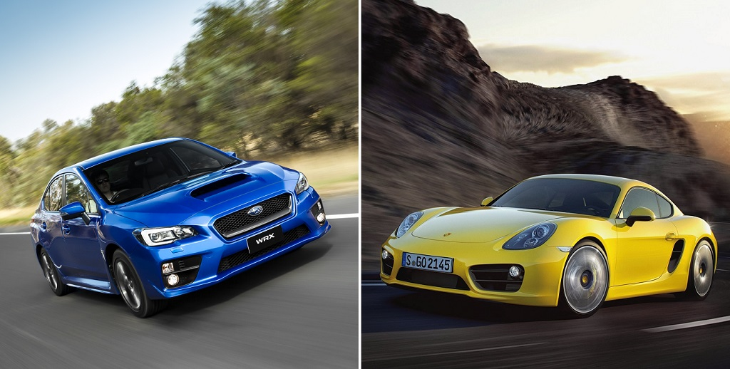 Subaru WRX STI azul y Porsche Cayman amarillo