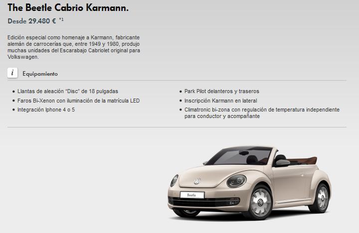 Beetle Cabrio Karmann configurador