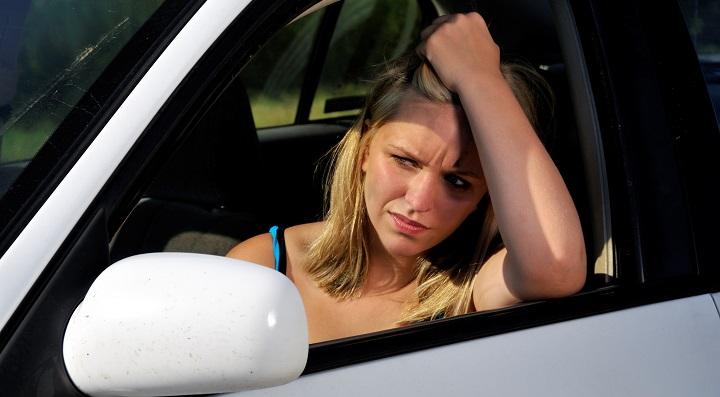conductora  preocupada