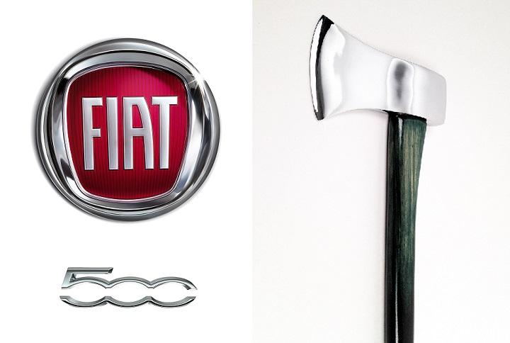 Fiat 500 logo y hacha