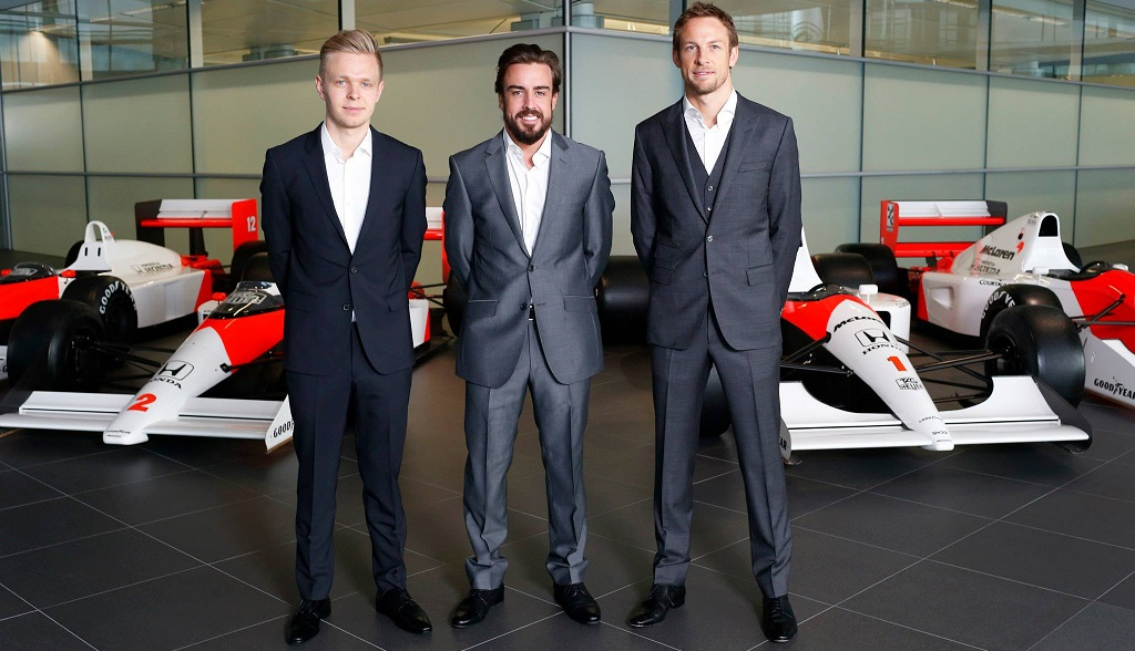 Magnussen Alonso y Button McLaren