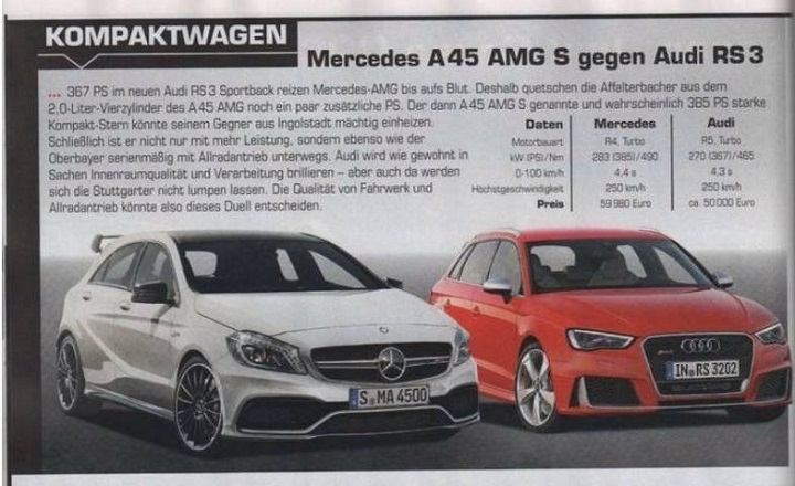 A 45 AMG S y RS 3