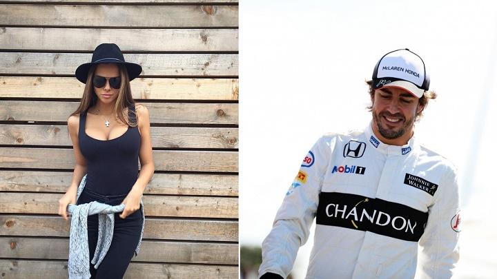 Viki Odinctova y Fernando Alonso