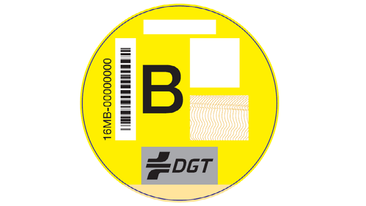 pegatina amarilla DGT